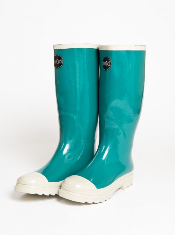"""Austen"" – Teal Green and White, Tall Wide Wellington Boot"