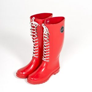"""Bardot"" – Red, Lace Up Front, Tall Wellington Boot"