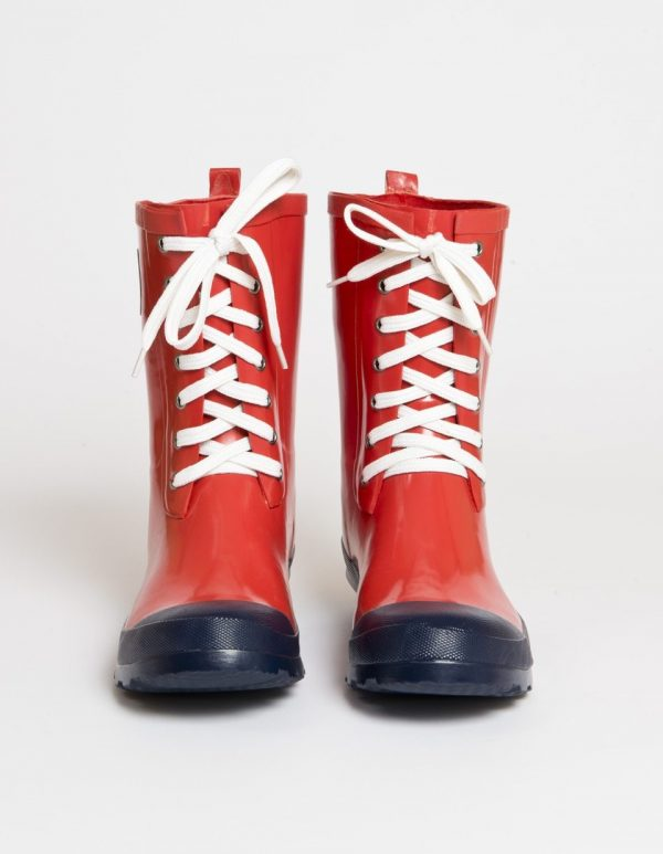 """Lulu"" – Red, Short, Wide, Lace Up Wellington Boot"