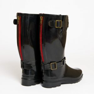 """Onassis"" – Black, Short Wide Buckle Wellington Boot"