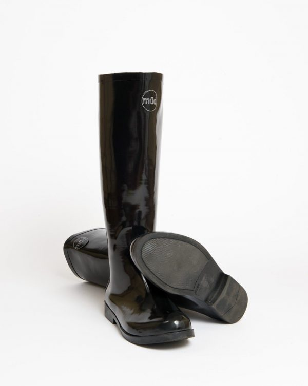 """Hepburn"" Tall Black Rear Zip Up Wellington Boot"